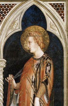 St Elizabeth of Hungary (detail)  1317  Fresco, 215 x 185 cm  Cappella di San Martino, Lower Church, San Francesco, Assisi.SIMONE MARTINI  Italian painter, Sienese school (b. 1280/85, Siena, d. 1344, Avignon)