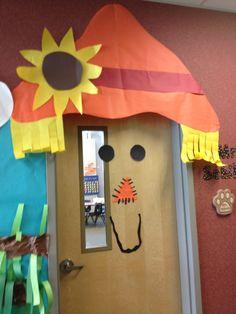 School hallway fall decorations