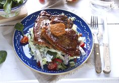 Delicious pork chops and salad