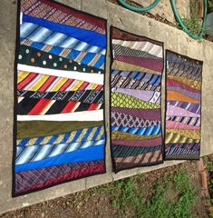 wall art, idea, quilts made from ties, men tie, crafts with neck ties, neckti rug, quilt blocks, necktie quilts, upcycled neckties