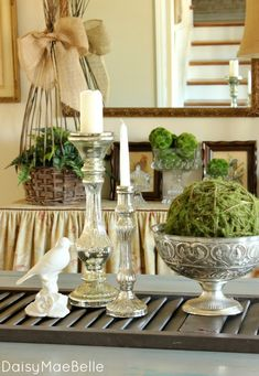 Using an old shutter for a table runner. Love this idea and the whole display is awesome!