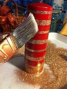 Glitter candles using double stick tape
