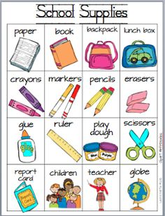 Classroom Freebies Too: School Supplies Writing Card