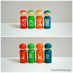 A fun way to teach name recognition & spelling with peg people. There's also a girl version. See post for details.