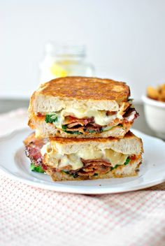 Sundried Tomato Pesto, Spinach + Peppered Bacon Grilled Cheese via www.SimplyScratch.com