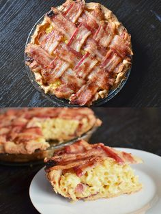 How To Make A Macaroni And Cheese Pie With A Bacon Lattice...  complete recipe on the site.  To assemble: Preheat 425°F.  Fill pre-baked pie crust with homemade mac 'n' cheese with crumbled bacon mixture.  Weave 8 bacon slices (4 in one direction and 4 in the other).  Spread brown sugar with fingers onto bacon strips.  Bake 15 min til bacon is cooked. Serve warm.