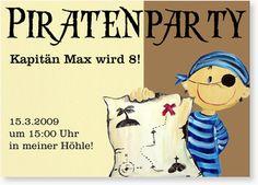 Geburtstagseinladungen für Jungen - Piratenparty mit Kapitän