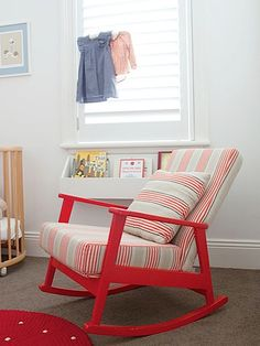 Traditional Nursery with Red Rocker