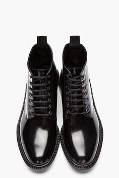 Saint Laurent black patent army 29 boots