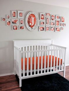 Vintage Alphabet Themed Nursery - I love the idea of making our last initial the focal point of the alphabet idea, big letters, nurseries, alphabet wall, crib, frames, gallery walls, kid room, babies rooms