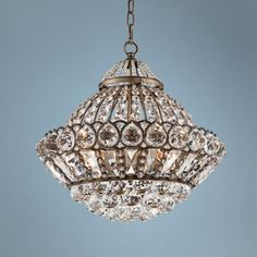 """Wallingford 16"""" Wide Antique Brass and Crystal Chandelier -"""
