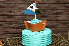 blue cake cupcake wrappers, birthday parties, cupcak wrapper, fish parti, sail boats, dessert tabl, kid parti, fishing party, birthday cakes