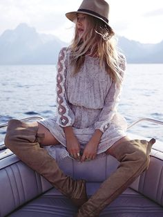 Free People Open Waters Charlotte Dress with gypsy embellishments for a boho chic modern hippie allure.