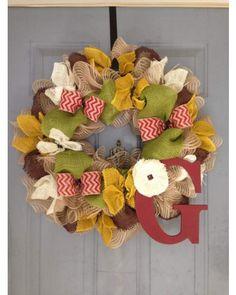 Love this unique color combination for Fall. Monogram Letter, Chevron Ribbon - Burlap Wreath | CraftOutlet.com Photo Contest