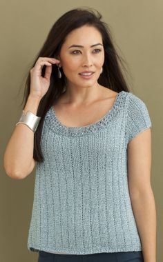 Phoebe Ribbed Tee in CELINE & CRYSTAL http://tahkistacycharles.com/t/pattern_single?products_id=2213