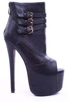 Smooth faux leather upper in a platform bootie style with a round peep toe, tonal stitching, triple buckle straps, back zipper closure. faux leather lining and footbed. #Fashiongods #BeHot #shoes #Classy #heels #HighFashion #lollicouture