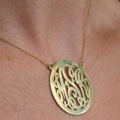 Monogram Necklace with Border, beautiful!