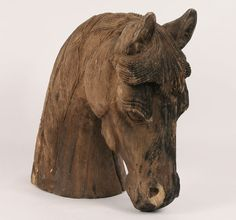 Carved wood horse head