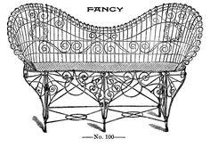 Vintage Clip Art - Fancy Wire Settee - Garden - The Graphics Fairy