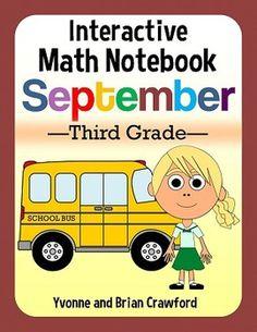 September Interactive Math Notebook Hands-On Third Grade $