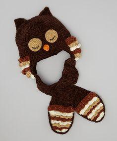 Brown Owl Chenille Crochet Pocket Beanie