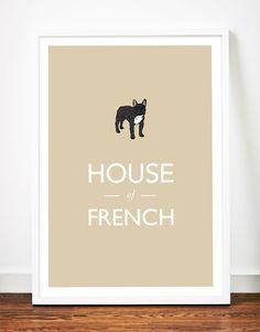 House of French// French Bulldog print art poster illustration typography frenchie drawing. $29.00, via Etsy.