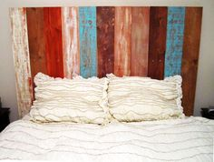 Queen Rustic Headboard - Multi colored with stained wood. FREIGHT PRICE INCLUDED via Etsy