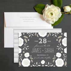 Floral Stripes Save The Date Cards by Olivia Raufman | Elli