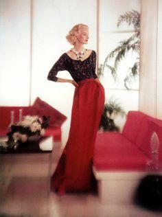~SUNNY HARNETT BY JOHN RAWLINGS 1955 VOGUE~ john rawlings, style, fashion models, fashion vintage, 1950s dresses, long skirts, 1955, the dress, sunni harnett
