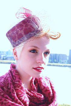 cocktail hat pink leopard spots vintage by RedDragonflyAKATOMBO, £85.00