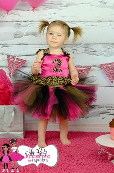 Birthday Party Diva Tutu Outfit - Pink and Leopard Animal Print - Cake Smash - Pageant- 1st Birthday 2nd 3rd 4th 5th - 12mos-5T. , via Etsy.