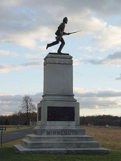 Monument to the 1st Minnesota regiment at Gettysburg. The regiment is noted in history for having the highest casualty rate of any surviving military unit in American history during a single engagement. While suffering 215 casualties out of 262 men, they did give the Union army a chance to secure Cemetery Ridge.