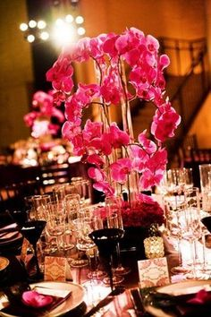 centerpiece ideas:  fuschia orchids
