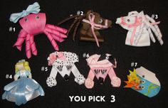 Clippie Clip Colorful Character Animal by MyBellaBellaBowtique, $5.00
