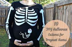 10 DIY Halloween Costumes for Pregnant Mamas. I just love this skeleton shirt! So dang cute!