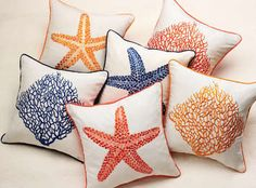 Starfish Decorative Pillow in Navy Pumpkin and Coral   $$$ DIY??