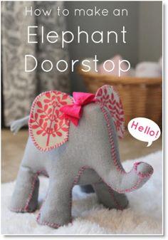 doorstop ♥ http://felting.craftgossip.com/2014/02/28/how-to-make-a-felt-elephant-doorstop/