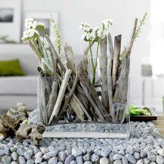 driftwood contemporary flower arrangement