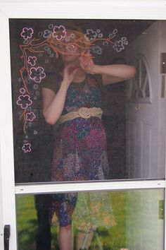 Creative Embroidered Screen Door .. ideas for the RV