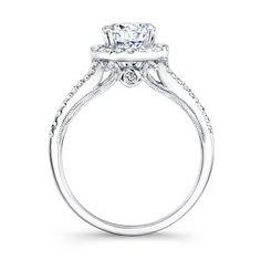 Natalie K. NK26148 - 18k White Gold Split Shank Prong Halo White Diamond Engagement Ring