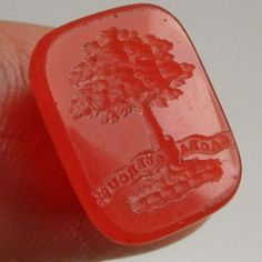ANTIQUE HARD STONE INTAGLIO FOB SEAL A TREE WITH  A FRENCH MOTTO