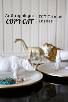 These DIY trinket dishes are super cheap and easy to make and look just like the expensive Anthropologie versions - perfect for Mom's Day!
