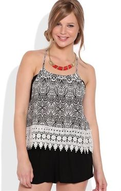 Deb Shops  Tribal Print Racerback Tank Top with Crochet Hem $14.25