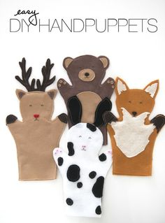 Easy Hand puppets (free printable patterns) at home, craft, fox, felt, hands, hand puppets, handpuppet, diy projects, kid
