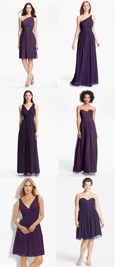 Perfect fall color: amethyst (in Donna Morgan dresses)