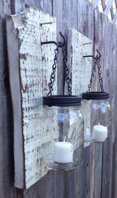 Rustic barn wood mason jar candle holders by Thesalvagednail