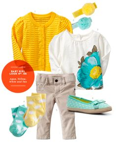 Girl Baby Clothes: Baby Girl Inspiration Board #08: Aqua, Yellow, White and Tan Outfit from The Kids' Dept.