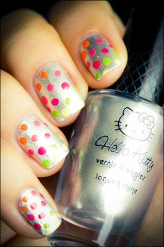 Oh, neon polka dots on silver!