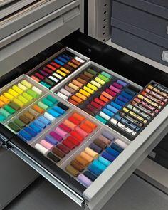 studio drawer of pastels/supplies
