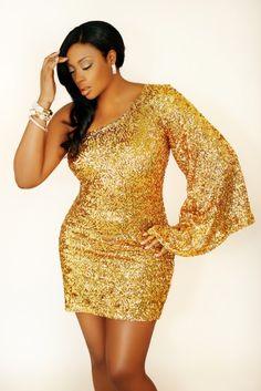 Plus size gold metallic sequin dress one shoulder #UNIQUE_WOMENS_FASHION